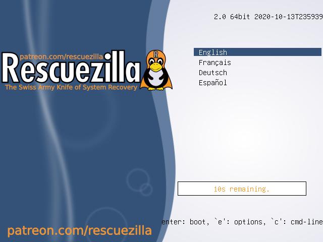 Menu khởi động Rescuezilla 2.0