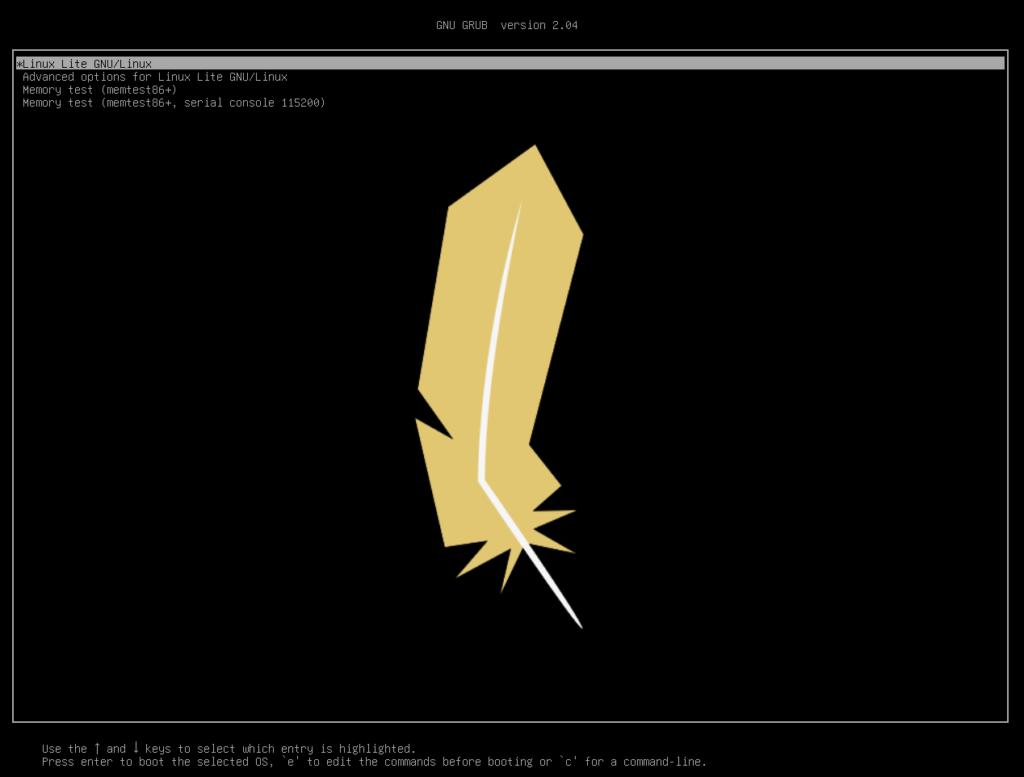 Menu Linux Lite 5.2 Grub